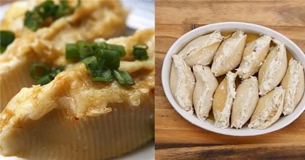 Tuyệt chiêu làm nui vỏ sò nhồi gà phô mai béo ngậy và thơm phưng phức