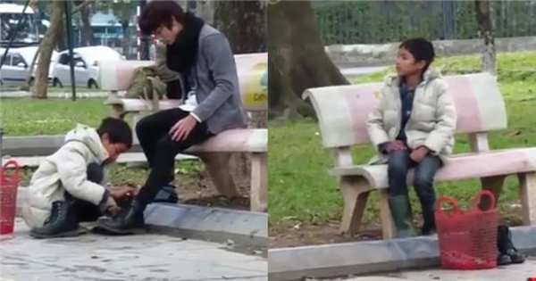 Bất ngờ với phản ứng của cậu bé đánh giày khi bị thử lòng giữa phố