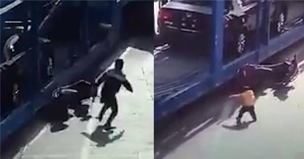 Rùng mình với khoảnh khắc sinh tử của em bé bị xe tải tông
