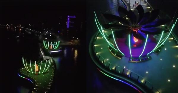 """Vẻ đẹp đầy """"ảo diệu"""" của cầu đi bộ bến Ninh Kiều qua clip flycam"""