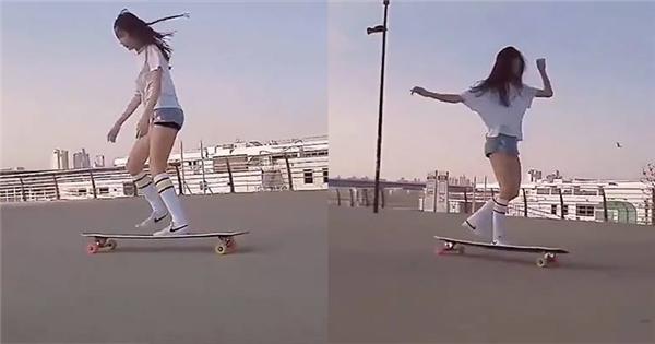 """Phát hiện """"hot girl"""" trượt ván khiến dân mạng mê mệt"""