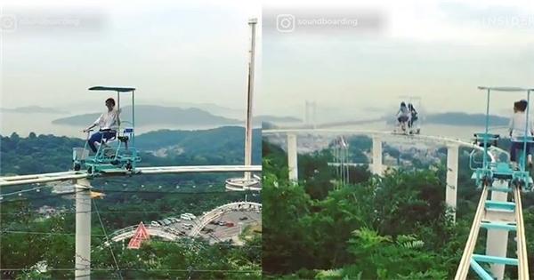 Chỉ có tại Nhật Bản: Đạp xe đạp trên đường ray tàu siêu tốc