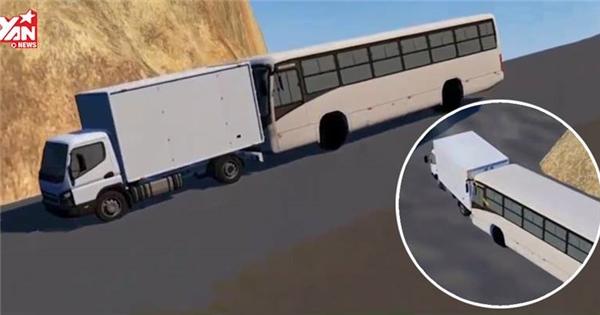 Đây là cách xe tải cứu xe khách mất thắng không đâm xuống vực