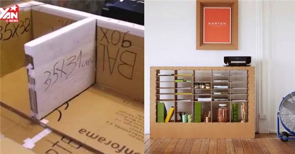 Trổ tài làm kệ sách bằng giấy bìa cứng đẹp không thua mua ngoài tiệm
