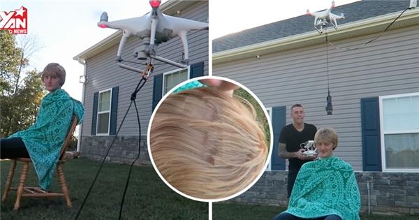 """""""Cạn lời"""" với thanh niên chơi liều cắt tóc bằng flycam"""