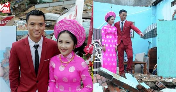 Xúc động với hình ảnh đám cưới bên căn nhà sập trong mùa lũ