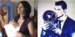 Nữ họa sĩ vẽ chân dung Ronaldo bằng đôi