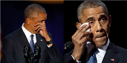 Xúc động cảnh ông Obama nghẹn ngào cảm ơn vợ khi phát biểu chia tay